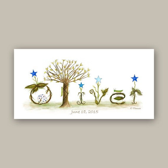 Woodland Nursery Decor - Personalized Gift Custom Name Sign - Baby Boy Bedroom Decor Illustration Prints - Blue, Brown