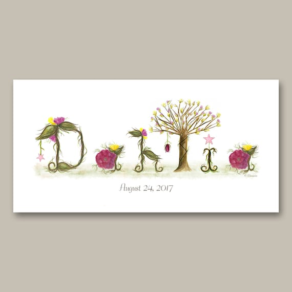 Unique Gift Nursery Decor Name Sign - Shabby Chic Nursery Wall Art - Name Signs for Kids Rooms, Ready to Hang Canvas Art Print, Pink, Yellow