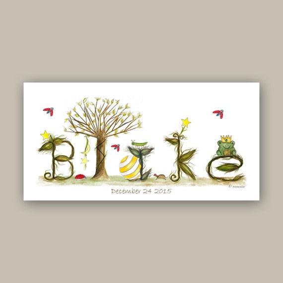 Personalized Name Sign Nursery Wall Decor - Baby Boy Illustration Nursery Prints - Custom Birthday Gift - Yellow, Brown