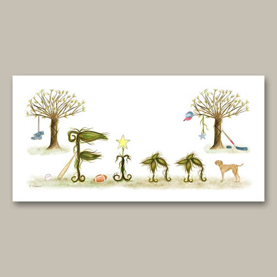Baby Name Sign Nursery Art - Baby Room Decor Name Sign Illustration Prints
