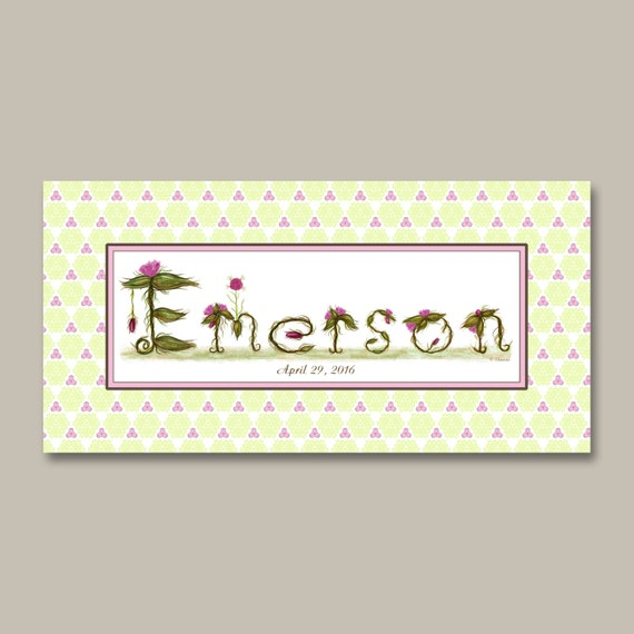 Flower Decor Nursery Name Sign - Nursery Decor