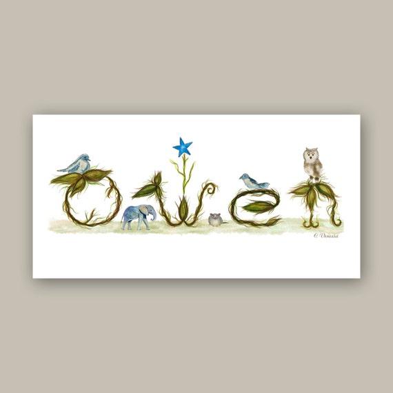 Baby Name Sign for Nursery - Boy Nursery Art Baby Gift - Baby Room Decor Illustration Art Print with Elephant, Birds, Owl
