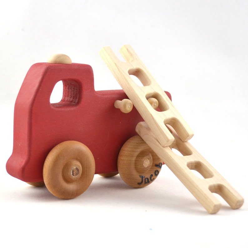 Firetruck Toy  Personalized Wooden Toy Fire Engine  Waldorf image 0