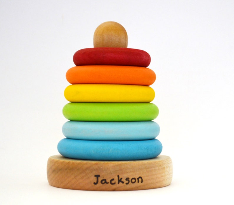 Personalized Wooden Toy  Stacking Rings  Eco Friendly image 0