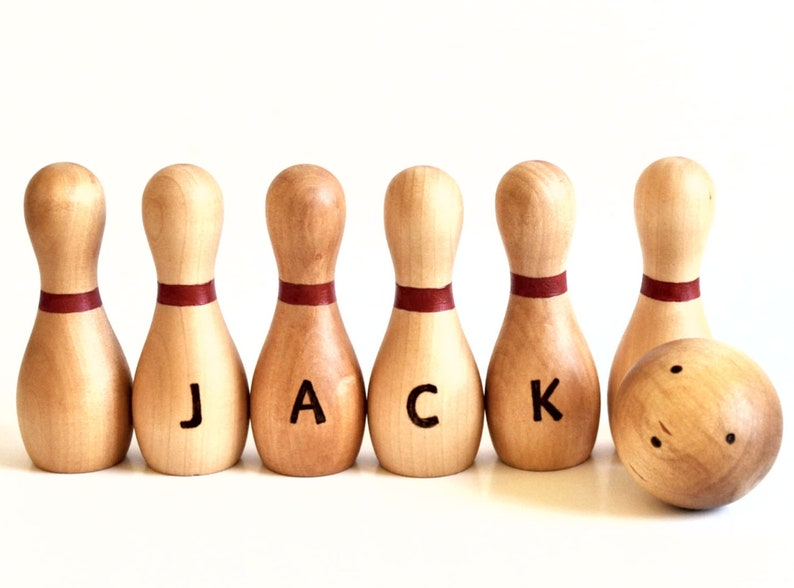 Wooden Toy  Personalized Bowling Set  Waldorf  Natural Wood image 0