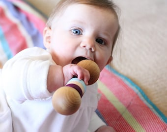 Wood Baby Rattle - Personalized Baby Toy - Choose your colors - an Heirloom Baby Toy - Hill Country Woodcraft