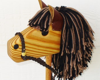 Wooden Stick Horse - Brown and Black with Personalization - Hobby Horse