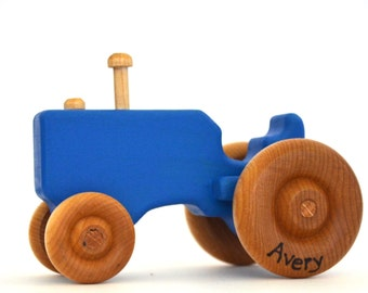 Blue Wood Toy Tractor - Personalized Wooden Toy - Push Toy - Toddler Toy