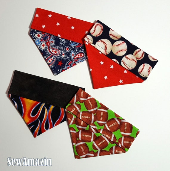 Over-the-Collar Dog Bandanas XSmall, Patriotic, Baseball, Hot Flames,  Football, Small Dog Bandanas | SewAmazin