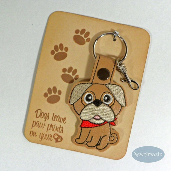 Pug Dog Breed Key Fob, Purse Charm, Zipper Pull | SewAmazin