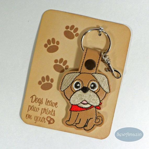 Pug Dog Breed Key Fob, Purse Charm, Zipper Pull | SewAmazin