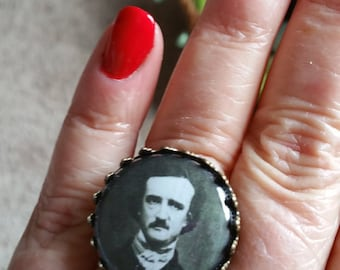 Edgar Allen Poe Vintage Look RAVEN  Cabochon  Adjustable  Ring