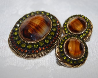 Gorgeous Tigers Eye Brooch and Earrings Set by Har