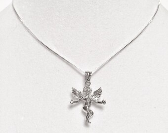 Religious Sterling Silver Small ANGEL with Open Arms Necklace
