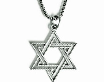 MEN'S Judaica STAR of DAVID Oxidized Pendant Necklace - 925 Sterling Silver