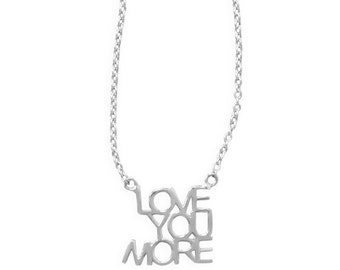 Sterling Silver LOVE YOU MORE Necklace Pendant 16 18 inch
