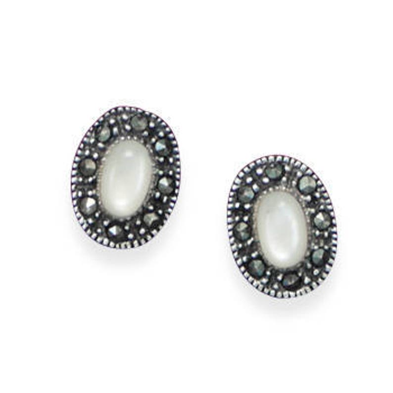 Marcasite Sterling Silver and Shell Post Stud Earrings