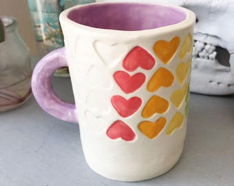 Rainbow heart mug! Handmade stamped ceramic coffee cup, rainbow gift, rainbow heart mug, love is love mug, lgbtq mug, rainbow pottery
