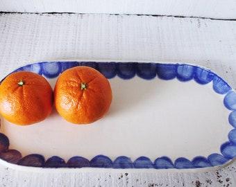 Hand-built Ceramic Serving Tray - Indigo blue glaze on white high fire clay