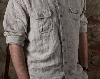 VINTAGE linen men's shirt | men's collection | work shirt | work-wear shirts