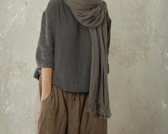 harem pants SHANTI in linen & wool blend | linen trousers | wool trousers | womens winter pants | sarouel pants
