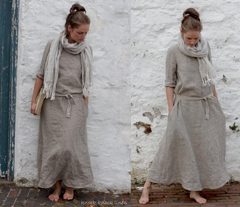 MONK linen dress linen summer dress linen maxi dress long linen dress linen dresses linen trapeze dress