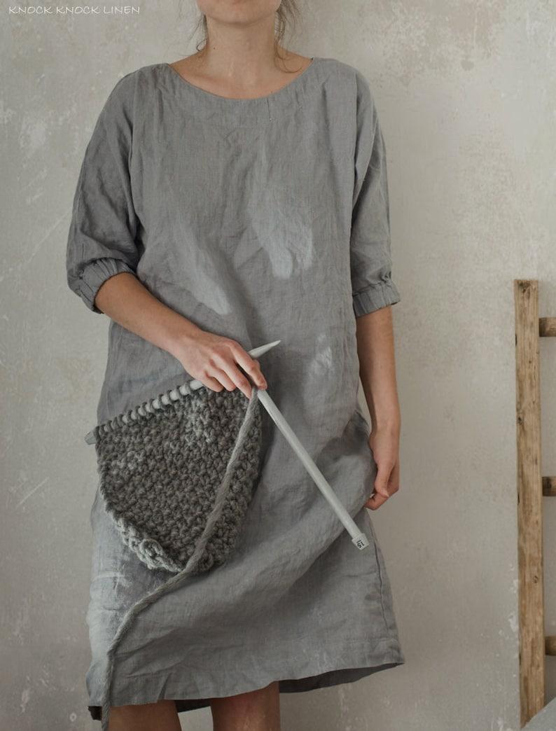 5a06fbc4363 MOON linen dress custom length tunic dress loose dress