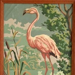 Vintage 1950s Mid-Century Paint by Numbers Flamingo Painting