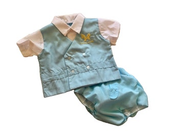 SALE Vintage Nikky Gift Set Diaper Shirt Matching Mittens And Booties Made In Hawaii USA Baby Unisex Size 3 To 6 Months Sealed In Package