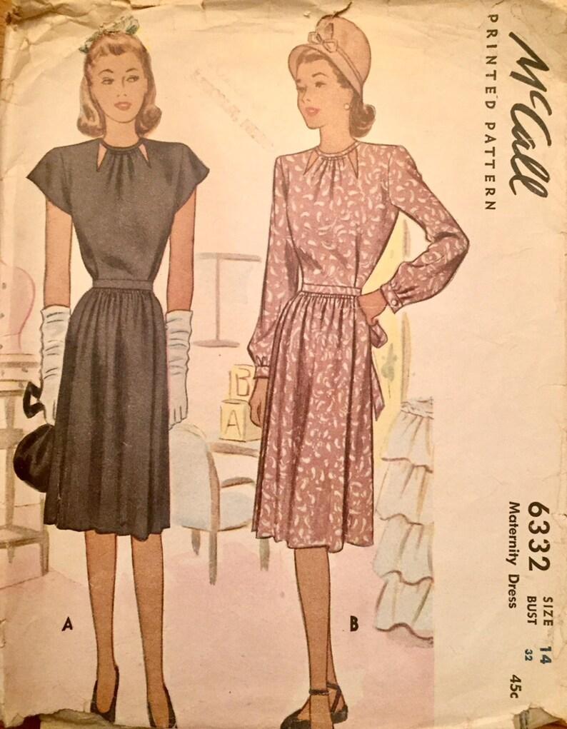 d3301eb36 Vintage 1945 Misses' Maternity Dress 6332 Size 14 | Etsy