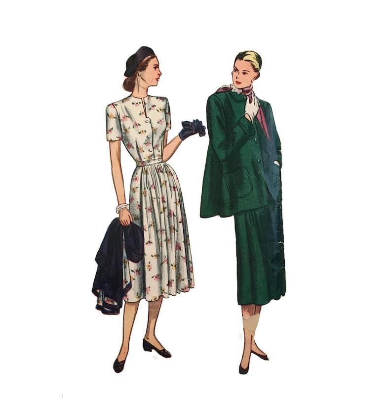 34 Bust Vintage 1940s Simplicity Misses/' Dress and Jacket Pattern 2302 Size 16