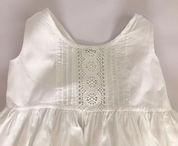 c2a284a01714 Antique 1880s White Cotton Baby Slip Christening Dress with