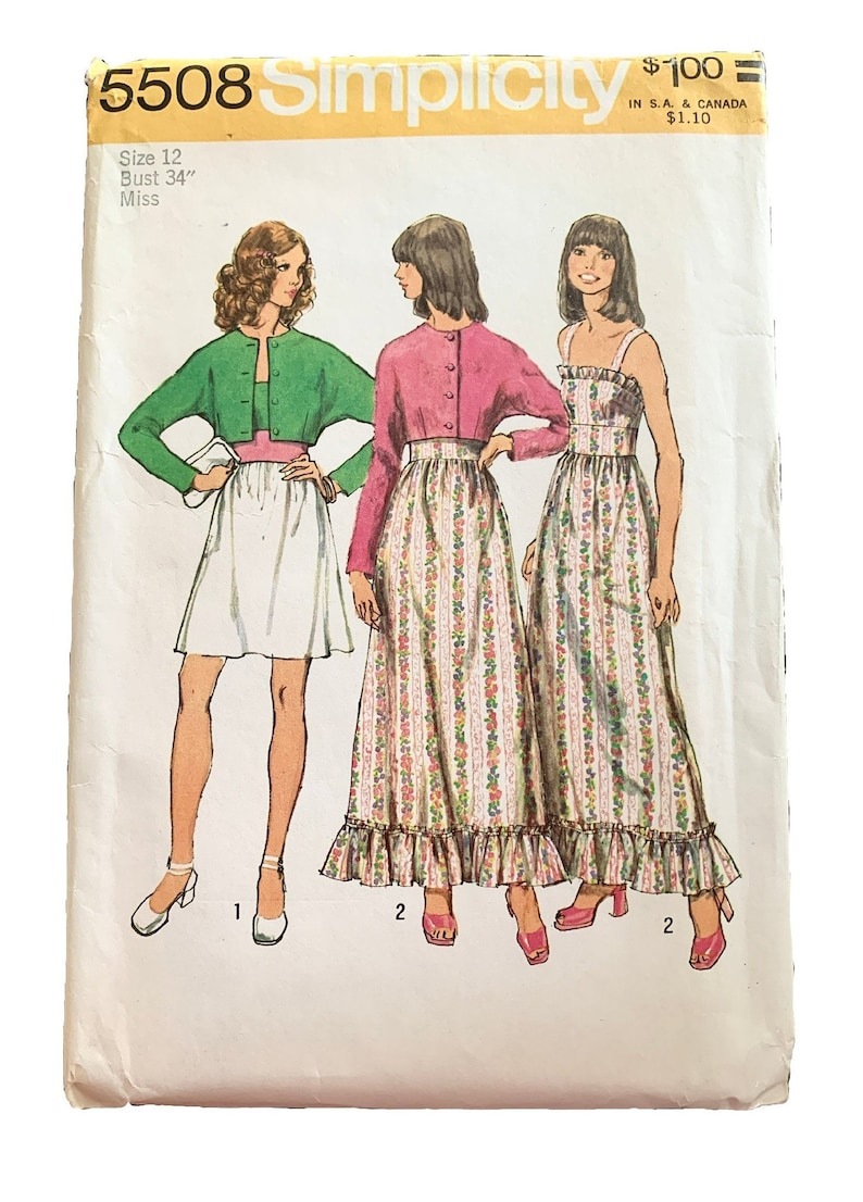 34 Bust Vintage UNCUT 1973 Simplicity Misses/' Dress and Jacket Pattern 5508 Size 12