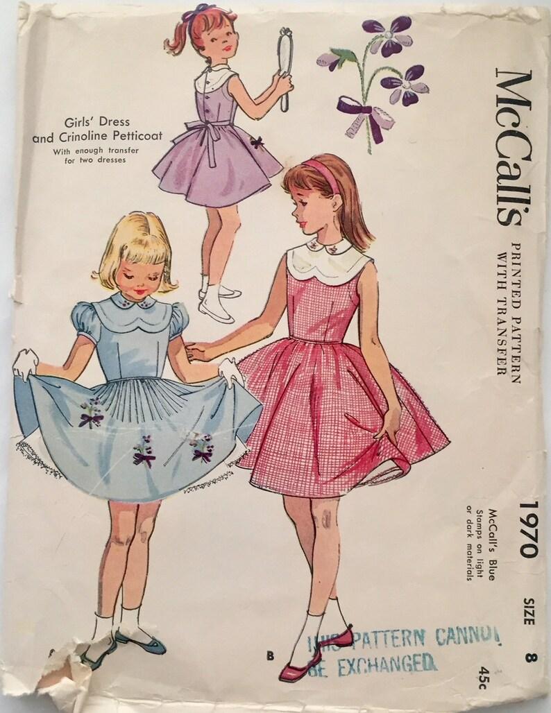 192422109a9653 Vintage 1955 McCall s meisjes jurk en hoepelrok Petticoat