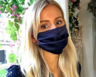 Midnight Blue Satin SIlky Cotton Face Mask - Handmade in England, UK - Unisex