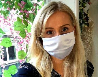 White Satin SIlky Cotton Face Mask - Handmade in England, UK - Unisex
