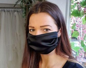 Black Satin SIlky Cotton Face Mask - Handmade in England, UK - Unisex