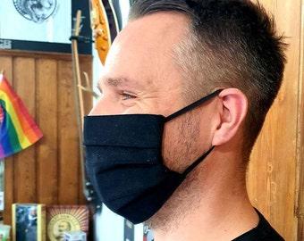 Black Lightweight Cord Cotton Face Mask - Size MEDIUM - Handmade in England, UK - Unisex