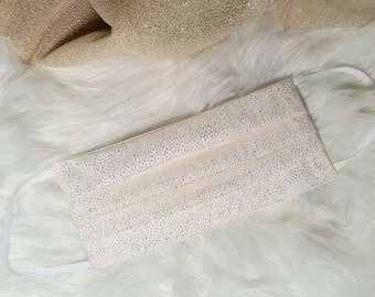 Off White Sparkle Glitter Cotton Face Mask - Handmade in England, UK - Unisex