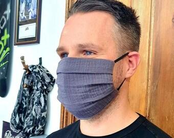 Slate Grey Muslin Cotton Face Mask - Size MEDIUM - Handmade in England, UK - Unisex