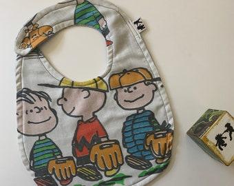 Peanuts Charlie Brown OOAK Vintage Upcycled Baby Infant Bib