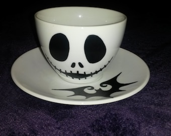 Skeleton Skull Bat  Hand painted Gothic Spooky Teacup and Saucer Set