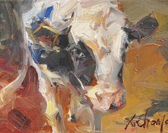 Holstein Friesian Milk Cow Face portrait Original oil Painting  on canvas panel 12CMX18CM
