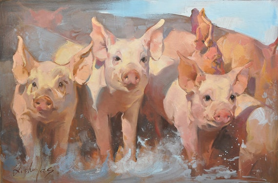 original oil painting pigs pig painting animal painting etsy
