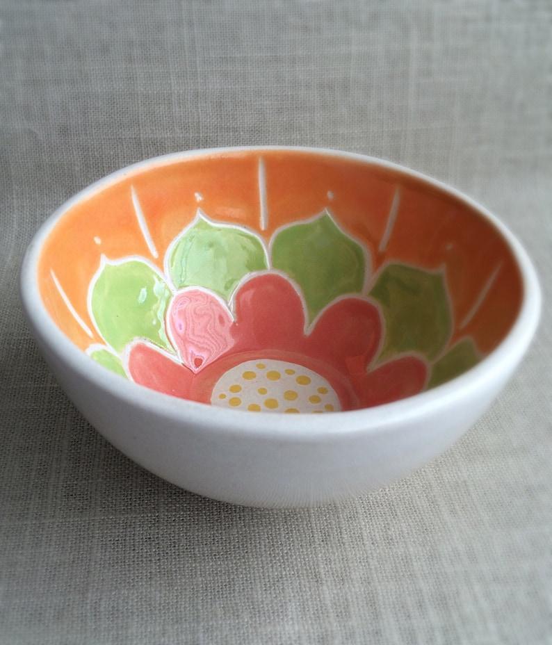 Handmade carved ceramic little bowl