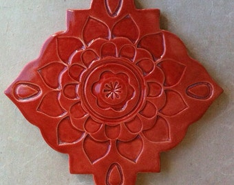 Ceramic trivet, art tile, wall hanging