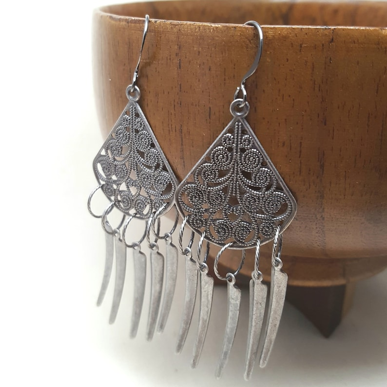 Earrings Chandelier Grey Filigree Dagger Drop Silver image 0