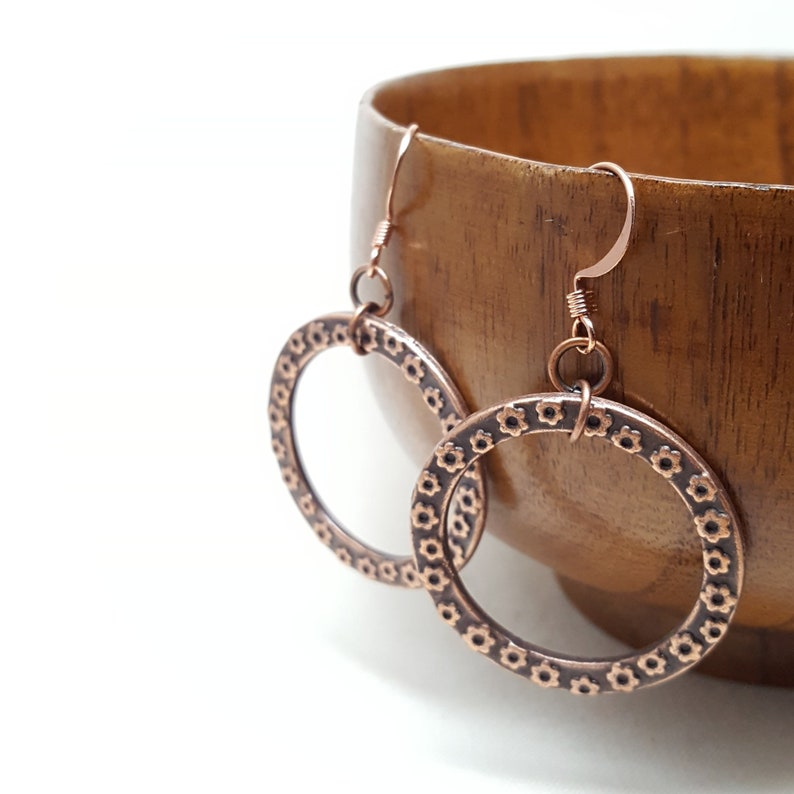 Earrings Copper Floral Circle Flower Leaf Drop image 0