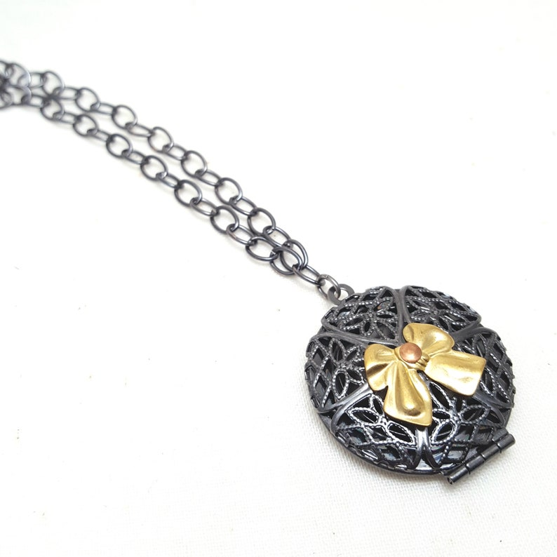 Necklace FILIGREE Grey Locket Gold Bow Copper Romantic image 0
