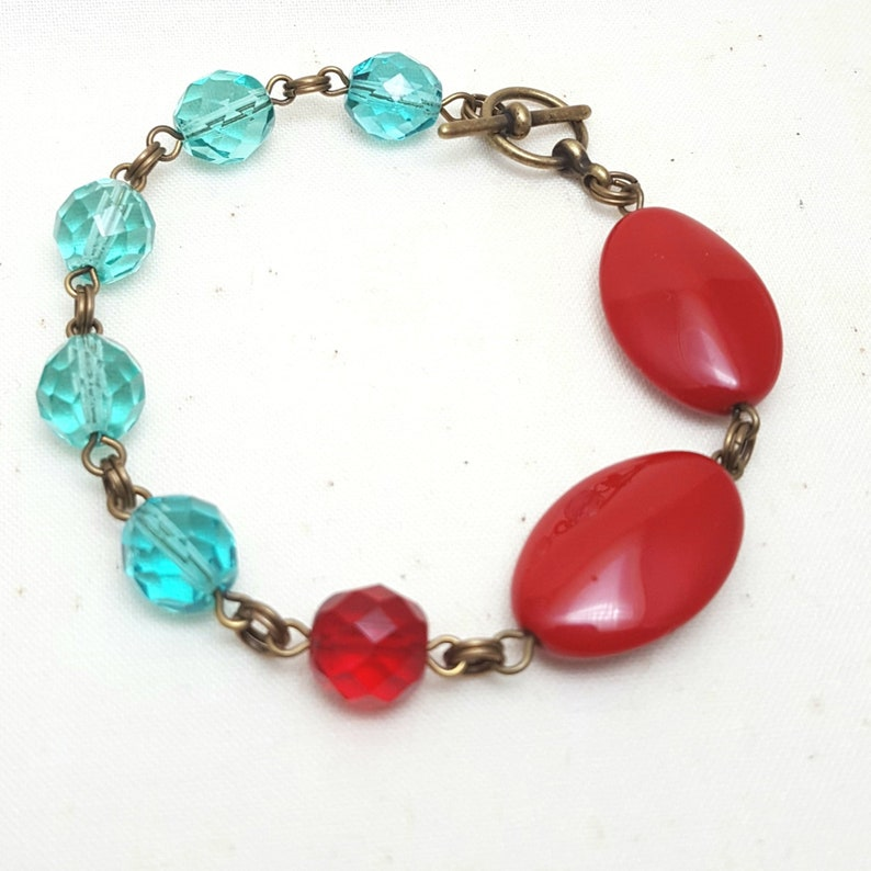 Bracelet Glass Beaded Red Teal Brass image 0